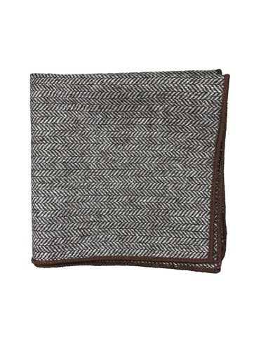 Grey Herringbone with Brown Border pocket square