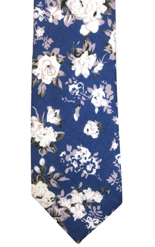 White Floral Print on Blue