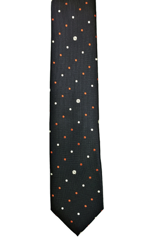 Floral with Orange and White Polka Dots