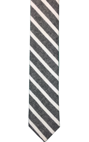 Black Cotton with White Stripes