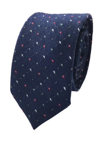 Navy Patterned Cotton Skinnytie