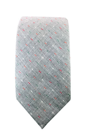 Grey Patterned Cotton Skinnytie