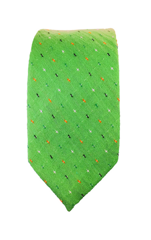 Green Patterned Cotton Skinnytie