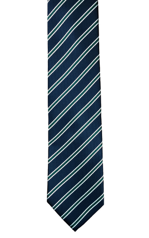 Navy and Forest Green Repp Stripe