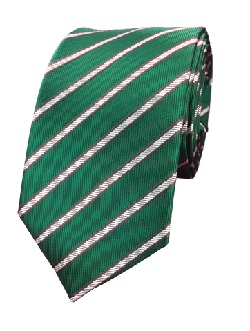 Forest Green and Grey Repp Stripe