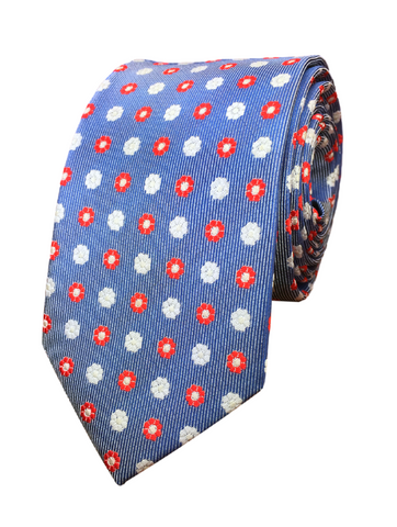 Blue and Red Floral Print