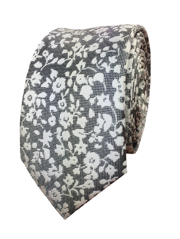 Black and White Floral Print Jacquard