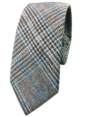 Glen Plaid with Blue Stripe