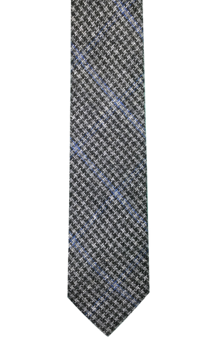 Charcoal Houndstooth with Blue Stripe