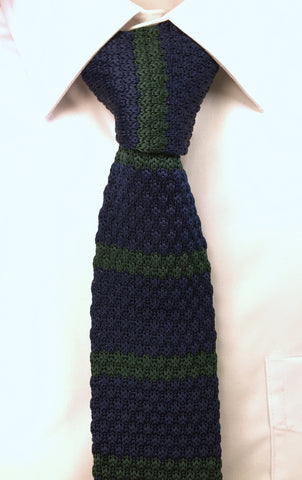 Navy with Brunswick Green Stripe Knit