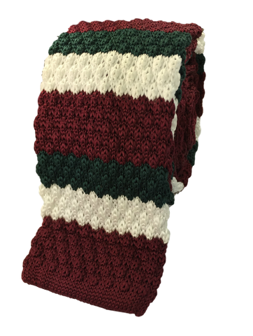 Dark Green, White and Maroon Stacked Knit