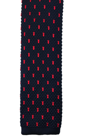 Navy with Red Ribbon Knit