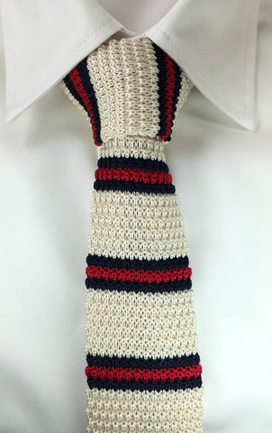Ivory with Red and Navy Bar Stripe
