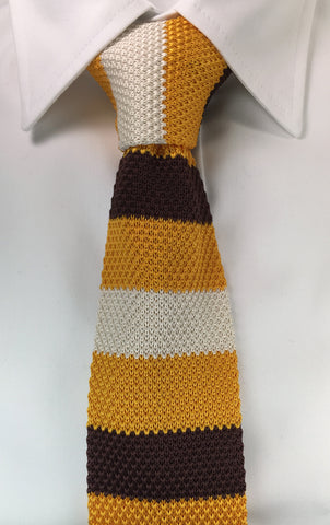 Ivory, Yellow and Brown Stacked Knit