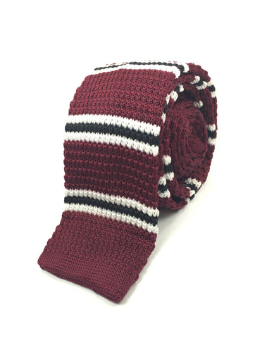 Maroon with Black and White Bar Stripe