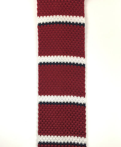Maroon with White and Navy Knit