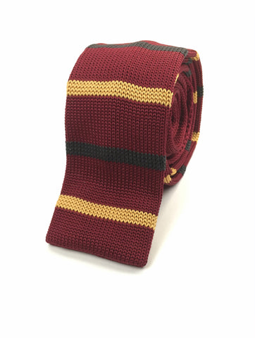 Maroon with Yellow and Black Stripe Knit