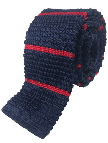 Navy and Crimson Stripe Knit