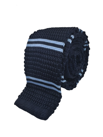 Navy with Double Blue Stripe Knit