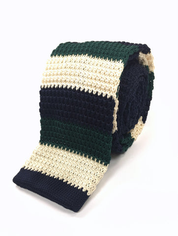 Navy, Green and Ivory Stacked Knit