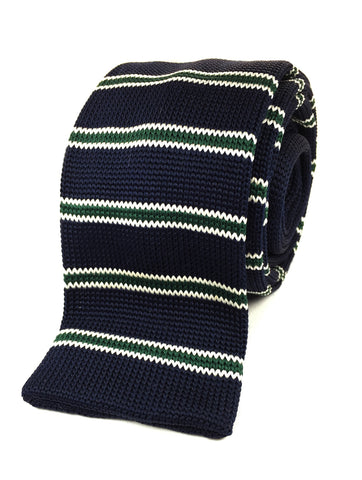 Navy with Green Stripes Knit