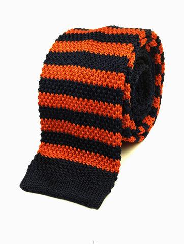 Navy and Mandarin Stripe Knit