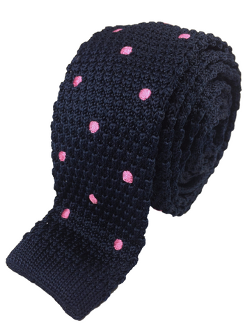 Navy with Pink Polka Dots Knit