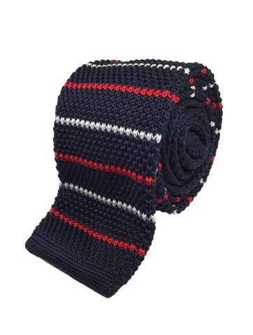 Navy with Red and White Thread Knit