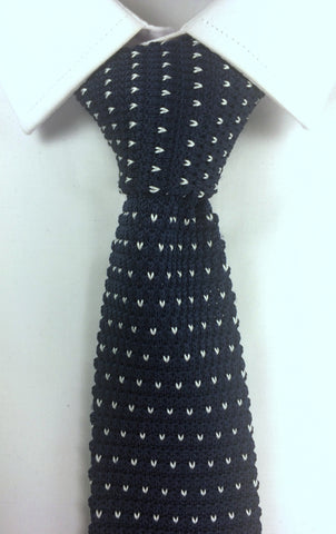 Navy with V-Pattern Knit