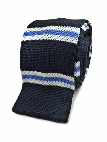 Navy with White and Cyan Bar Stripe Knit