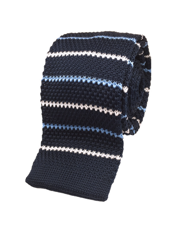 Navy with White and Cyan Diamond Stripe Knit