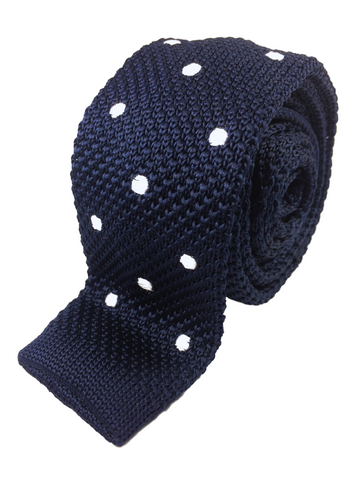 Navy with White Polka Dots Knit