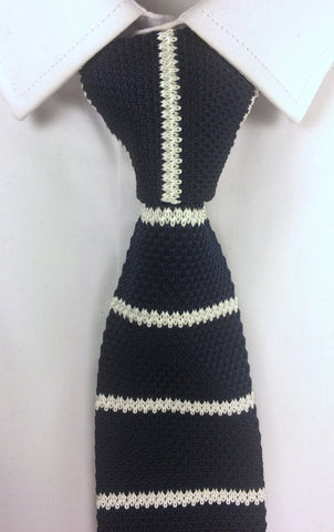 Navy and White Stripe Knit #1