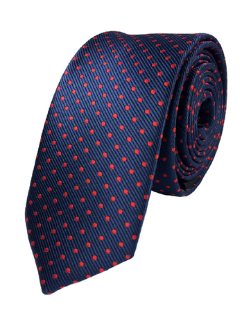 Navy Polka Dot - Red