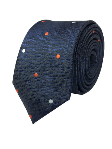 Orange and White Polka Dots Tie