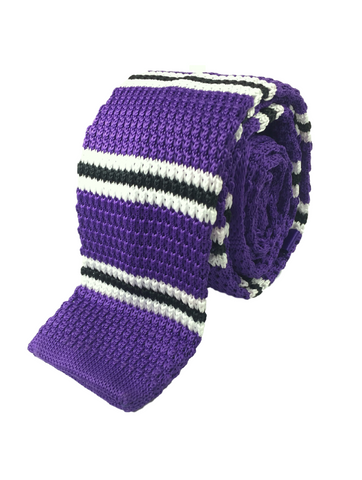 Purple with Black and White Bar Stripe