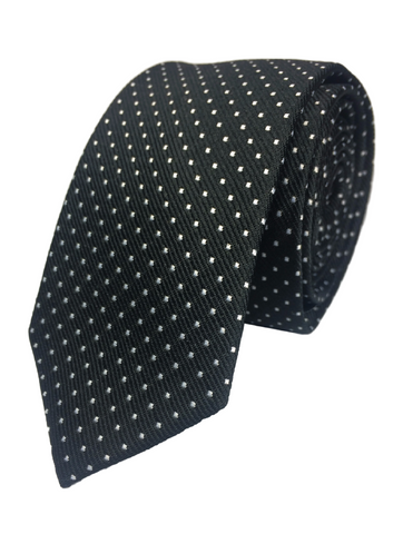Black tie with white pin dots