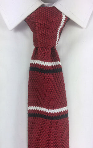 Red with Black and White Stripe Knit