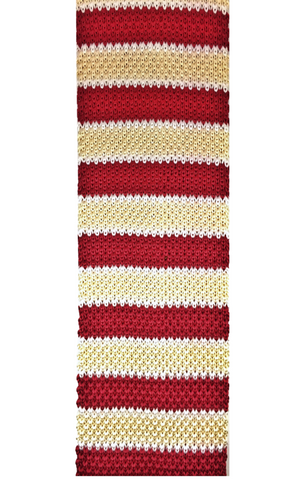 Red and Ivory Stripe Knit