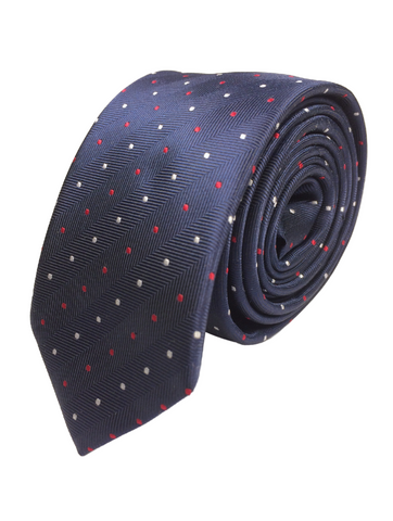 Navy Pin Dot - Red/White