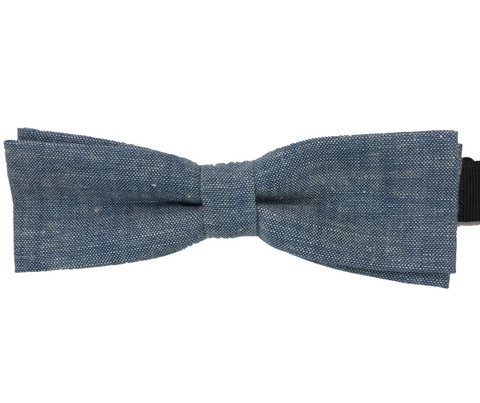 Skinny Light Blue Linen Bowtie