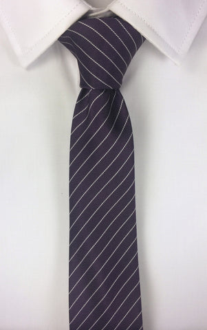Thread Striped Purple Tie