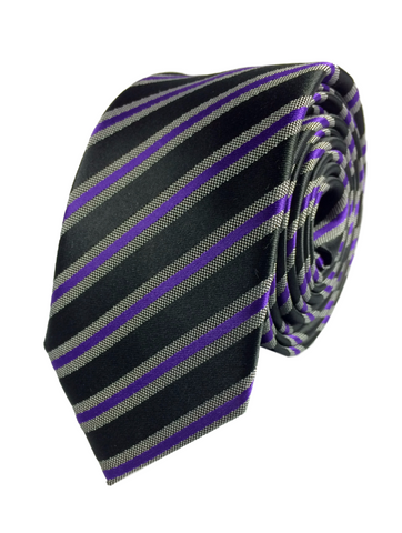 Purple Striped Tie - Black Ribbon