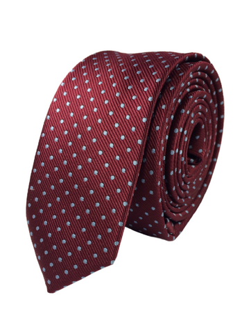Maroon Tie with Light Blue Polka Dots