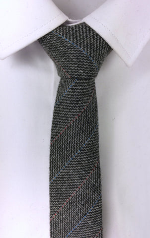 Woollen Grey Weave with Red and Blue Soft Stripes