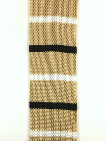 Khaki with Black and White Stripe Knit