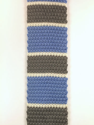 Light Blue with Grey and White Stacked Knit