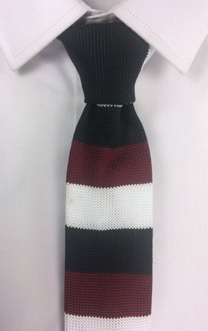 Black White and Maroon Stacked Stripes