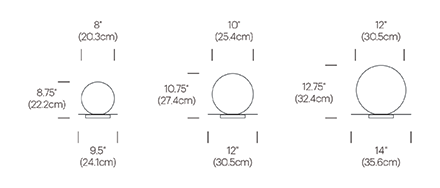 Bola Sphere Table Dimensioned Drawings