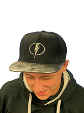 Load image into Gallery viewer, MK Lightning Black Snapback Cap with Lightning Bolt Logo and Silver/Black Peak